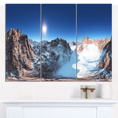 Designart Panorama Of Rocky Mountains Landscape Canvas Wall Art - 3 Panels
