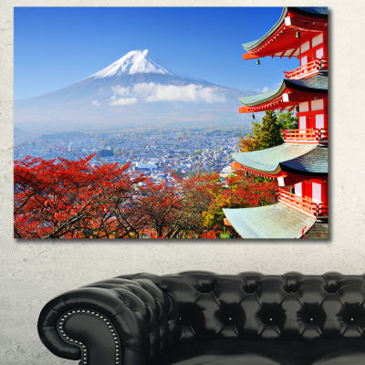 Designart Mount Fuji With Fall Colors Landscape Canvas Wall Art
