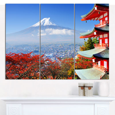 Design Art Mount Fuji With Fall Colors Landscape Canvas Wall Art - 3 Panels