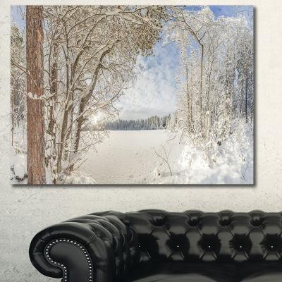 Designart Lake In Winter Woods Landscape Canvas Wall Art