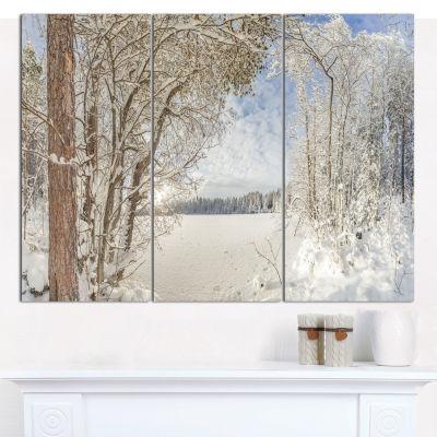 Designart Lake In Winter Woods Landscape Canvas Wall Art - 3 Panels