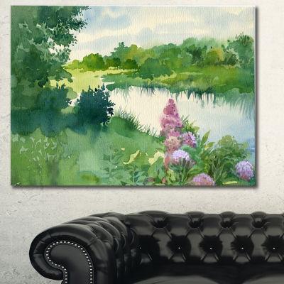 Designart Green Riverside Land Watercolor Landscape Canvas Wall Art