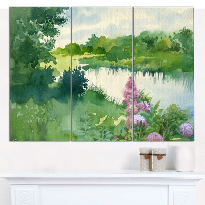 Designart Green Riverside Land Watercolor Landscape Canvas Wall Art - 3 Panels