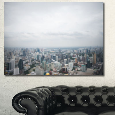 Designart Panoramic Aerial View Of Big City Landscape Canvas Wall Art