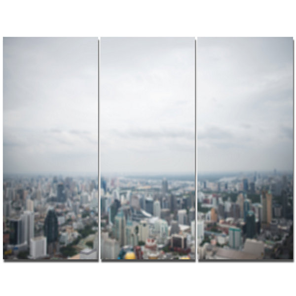 Designart Panoramic Aerial View Of Big City Landscape Canvas Wall Art - 3 Panels