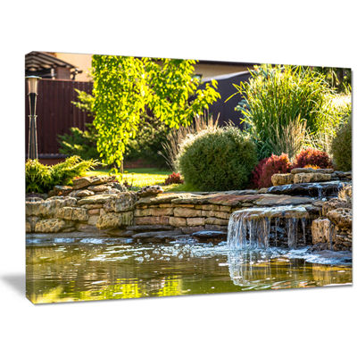 Designart Green Lake And Plants Landscape Canvas Wall Art