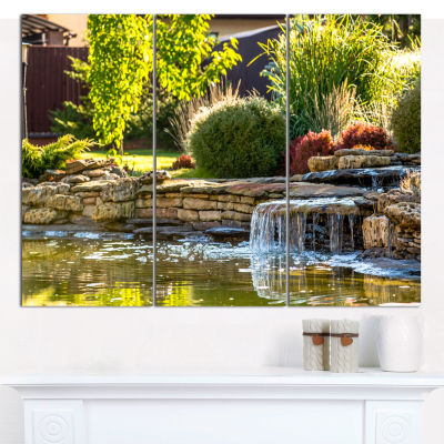 Designart Green Lake And Plants Landscape CanvasWall Art - 3 Panels