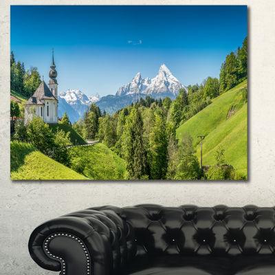 Designart Green Mountain View Of Bavarian Alps Landscape Canvas Wall Art