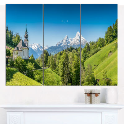 Design Art Green Mountain View Of Bavarian Alps Landscape Canvas Wall Art - 3 Panels