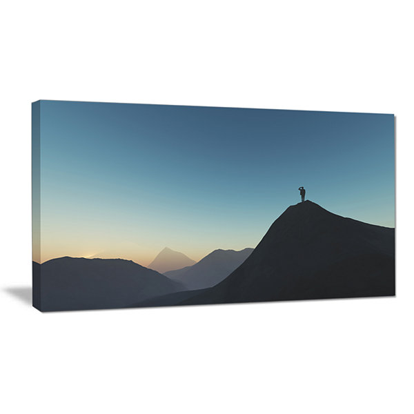 Designart Man Looking From Mountain Landscape Canvas Wall Art