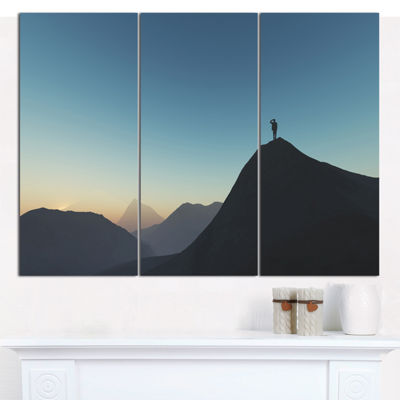 Designart Man Looking From Mountain Landscape Canvas Wall Art - 3 Panels