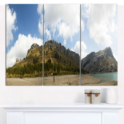 Designart Lake And Clouds Panorama Landscape Canvas Wall Art - 3 Panels