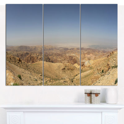 Design Art Panorama Desert Hills Jordan LandscapeCanvas Wall Art - 3 Panels
