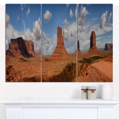 Designart Monument Valley Mountains Landscape Canvas Wall Art - 3 Panels