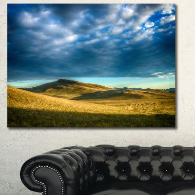 Designart Green Landscape Under Cloudy Sky Landscape Canvas Wall Art