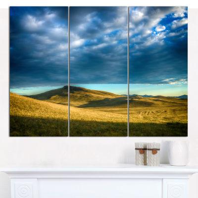 Designart Green Landscape Under Cloudy Sky Landscape Canvas Wall Art - 3 Panels