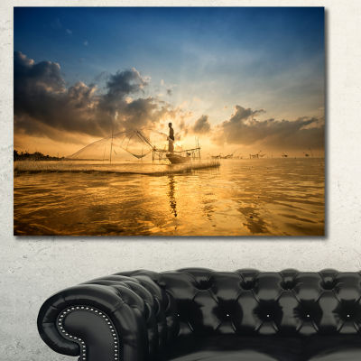 Designart Pakpra With Fisherman At Sunrise Landscape Canvas Wall Art