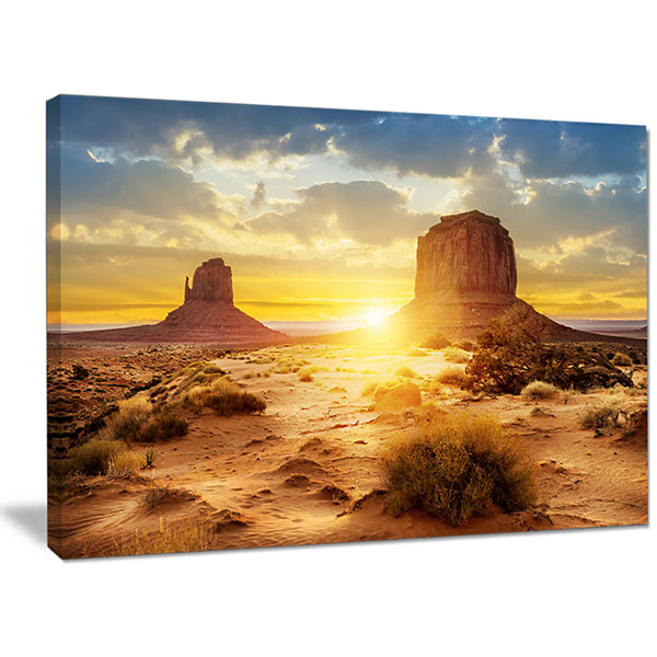 Designart Monument Valley At Sunset Landscape Canvas Wall Art