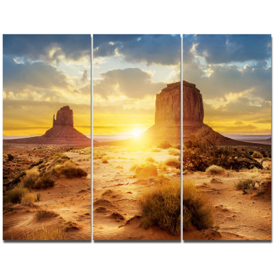 Designart Monument Valley At Sunset Landscape Canvas Wall Art - 3 Panels