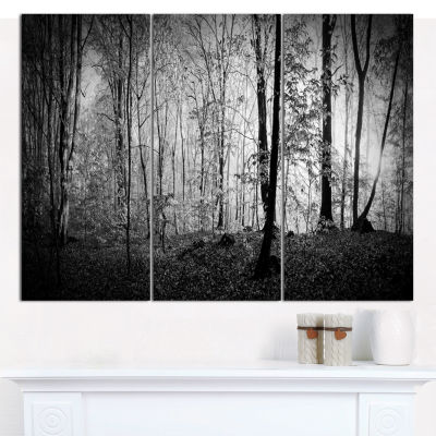 Designart Morning In Thick Fall Forest LandscapeCanvas Wall Art - 3 Panels