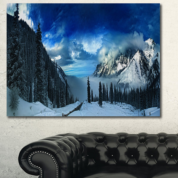 Designart Panorama Of Snowy Mountains Landscape Canvas Wall Art