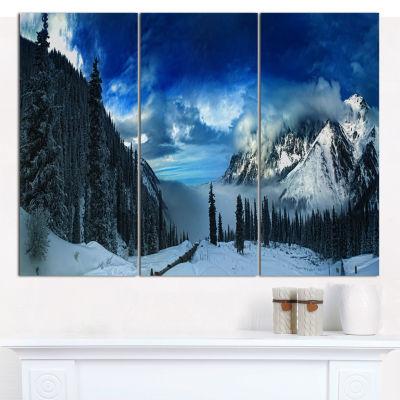 Designart Panorama Of Snowy Mountains Landscape Canvas Wall Art - 3 Panels