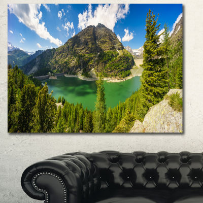Designart Greeny Alpine Reservoir Landscape CanvasWall Art