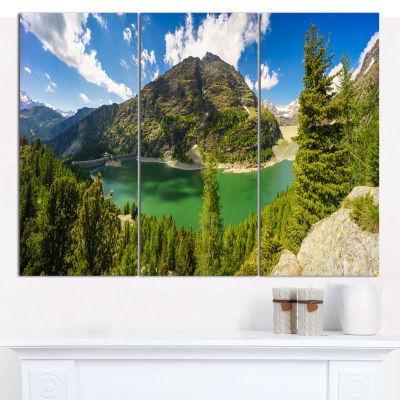 Designart Greeny Alpine Reservoir Landscape CanvasWall Art - 3 Panels