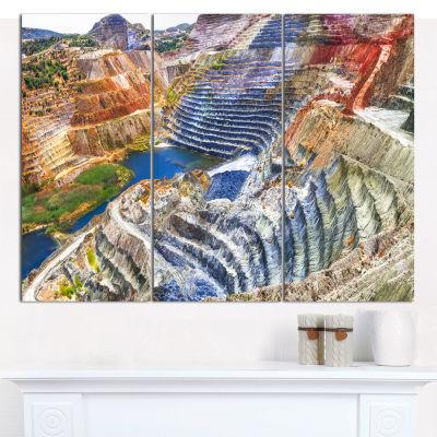 Design Art Impressive Mines And Canyon Landscape Canvas Wall Art - 3 Panels