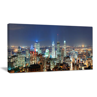 Designart Montreal At Dusk Panorama Landscape Canvas Wall Art