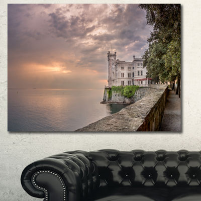Designart Miramare Castle At Sunset Landscape Canvas Wall Art