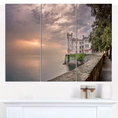 Designart Miramare Castle At Sunset Landscape Canvas Wall Art - 3 Panels