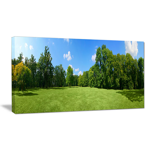 Designart Green City Park Panorama Landscape Canvas Wall Art