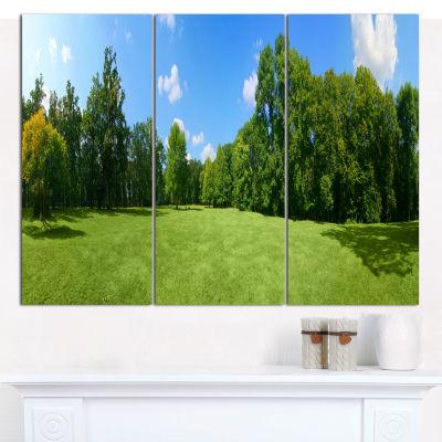 Designart Green City Park Panorama Landscape Canvas Wall Art - 3 Panels