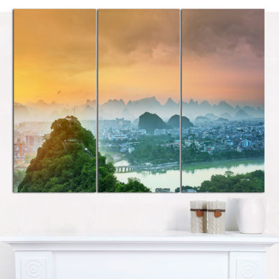 Designart Li River And Karst Mountains LandscapeCanvas Wall Art - 3 Panels