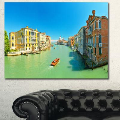 Designart Green Grand Canal Venice Landscape Canvas Wall Art
