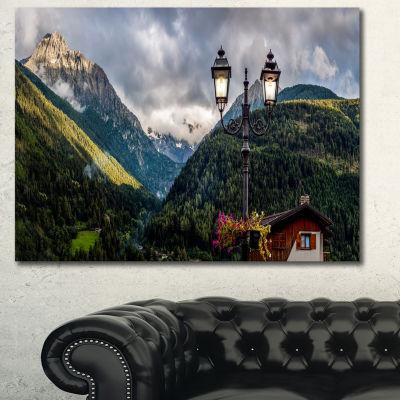 Designart Lamp Posts In Mountain Panorama Landscape Canvas Wall Art