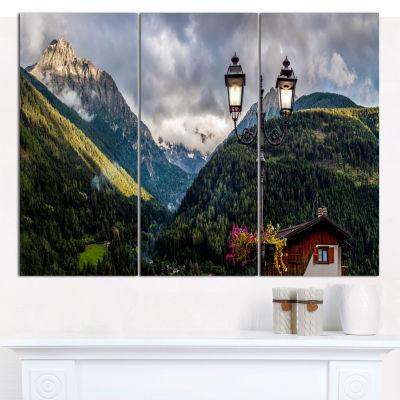 Designart Lamp Posts In Mountain Panorama Landscape Canvas Wall Art - 3 Panels