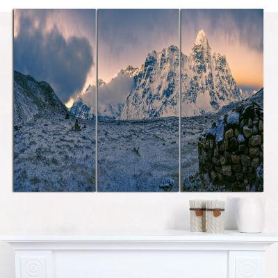 Designart Kangchenjunga Panorama Landscape CanvasWall Art - 3 Panels