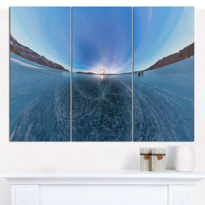 Designart Ice On Lake Baikal Ice At Sunset Landscape Canvas Wall Art - 3 Panels