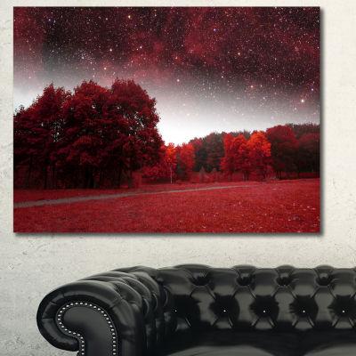 Designart Mystical Red Spring Night Landscape Canvas Wall Art