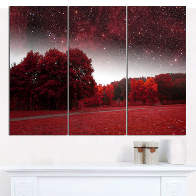 Designart Mystical Red Spring Night Landscape Canvas Wall Art - 3 Panels