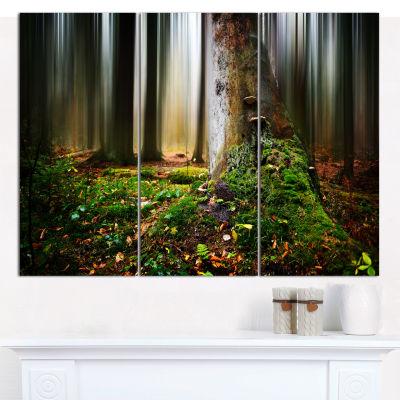 Design Art Green Forest On Snowy Morning LandscapeCanvas Wall Art - 3 Panels