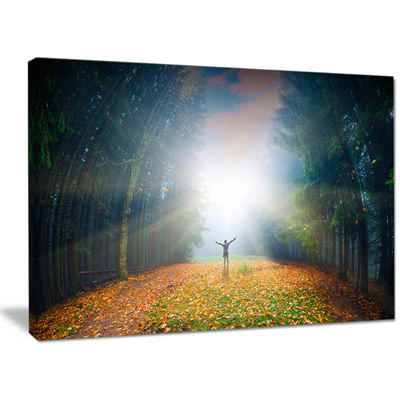 Designart Men And Bright Sunlight Panorama Landscape Canvas Wall Art