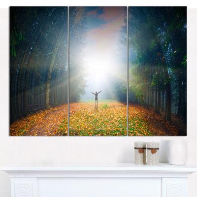 Designart Men And Bright Sunlight Panorama Landscape Canvas Wall Art - 3 Panels