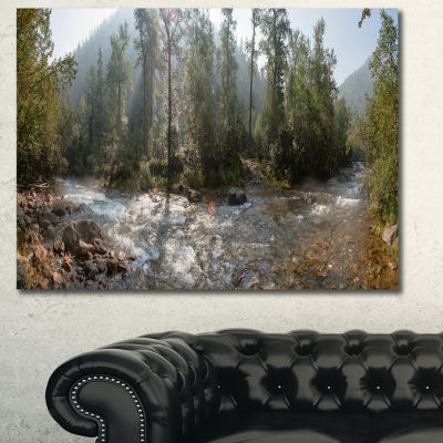 Designart Mountain River Panorama Landscape CanvasWall Art