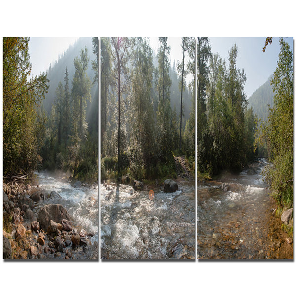 Design Art Mountain River Panorama Landscape CanvasWall Art - 3 Panels