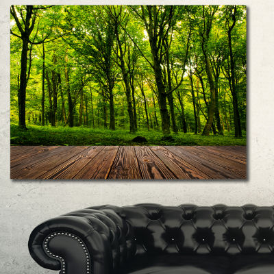 Designart Green Forest With Dense Woods LandscapeCanvas Wall Art