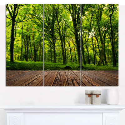 Designart Green Forest With Dense Woods LandscapeCanvas Wall Art - 3 Panels