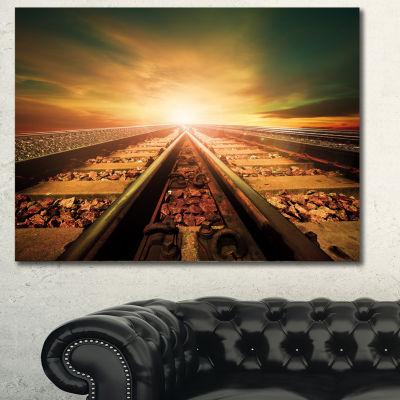 Designart Junction Of Railways Track Landscape Canvas Wall Art